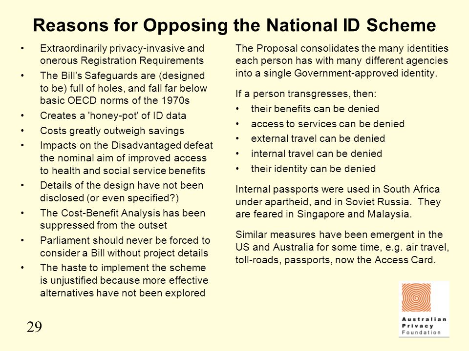 Reasons for Opposing the National ID Scheme