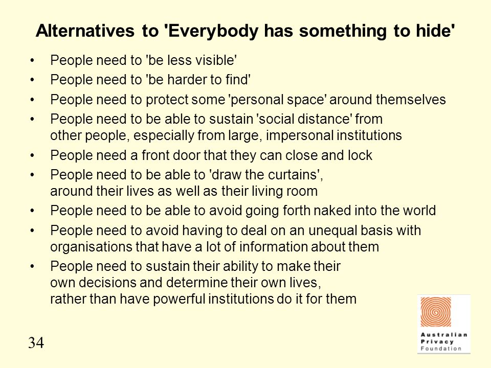 Alternatives to Everybody has something to hide