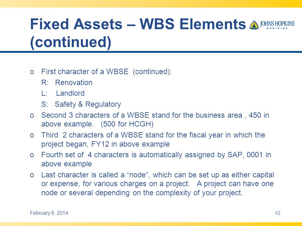 Fixed Assets – WBS Elements (continued)