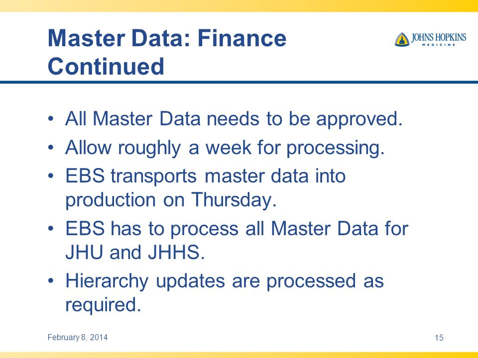 Master Data: Finance Continued