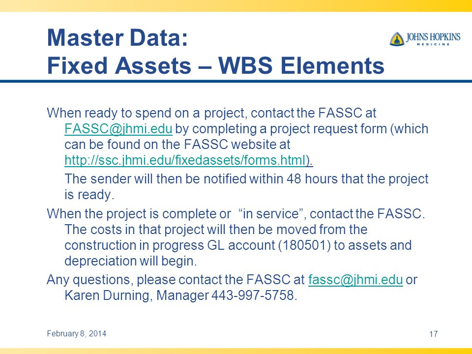 Master Data: Fixed Assets – WBS Elements