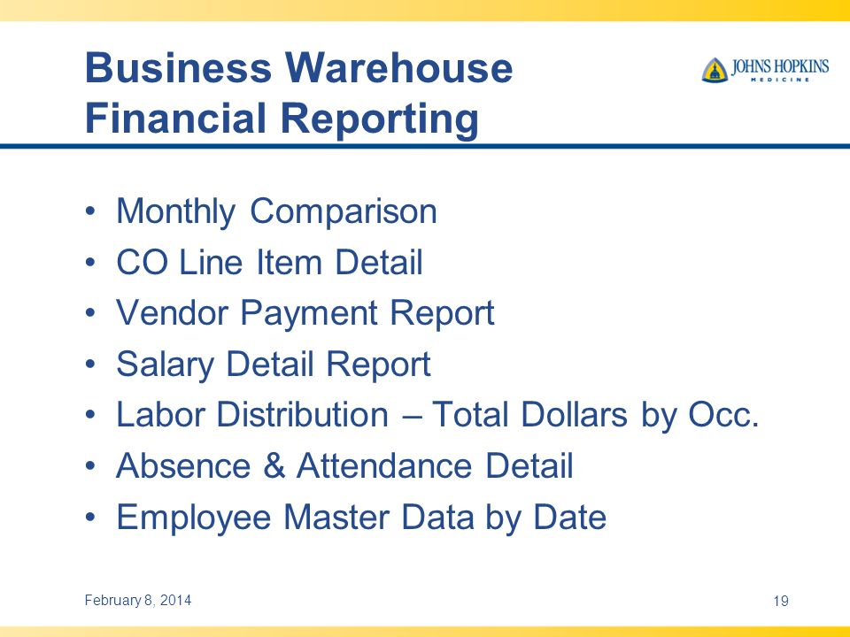 Business Warehouse Financial Reporting