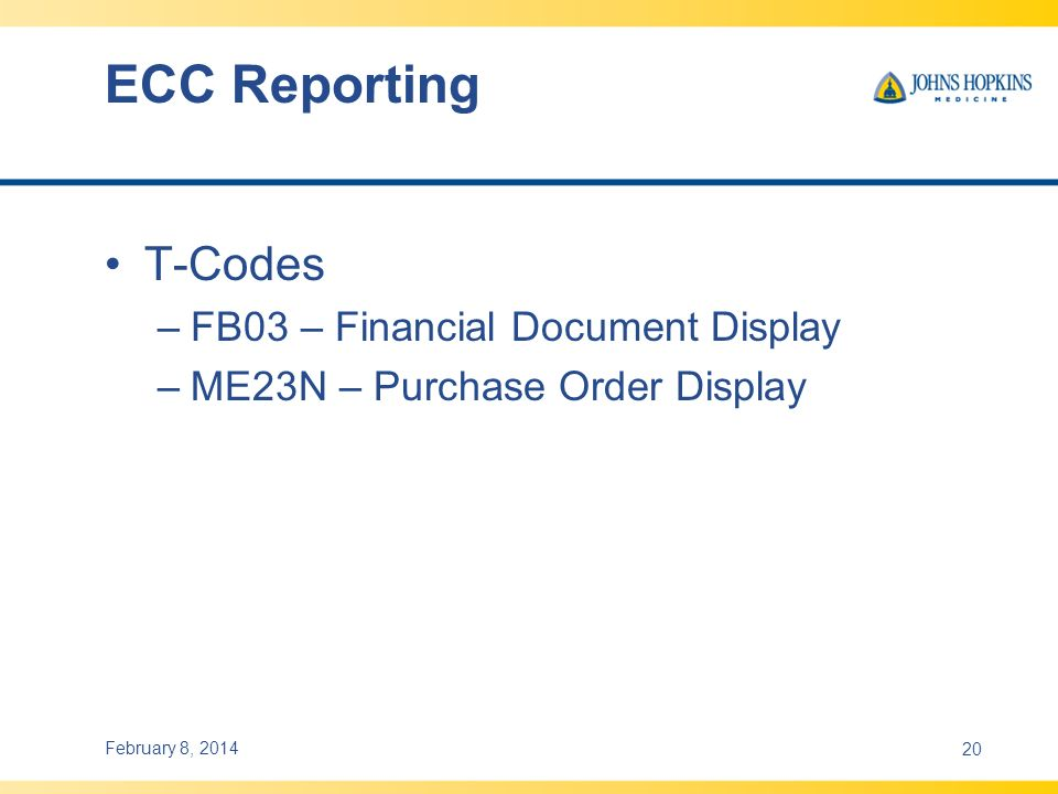 ECC Reporting T-Codes FB03 – Financial Document Display