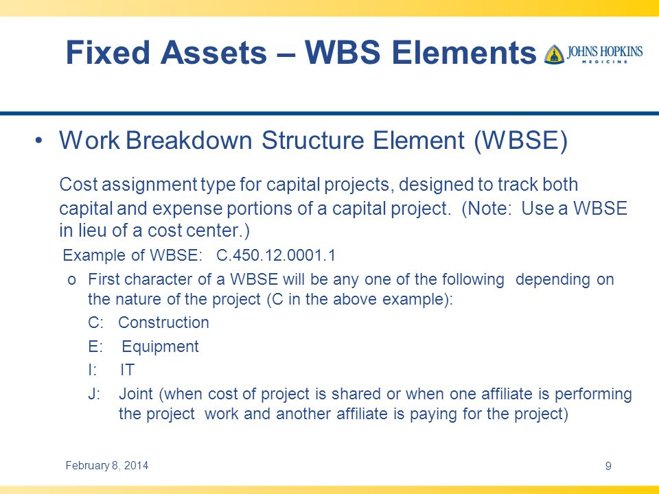 Fixed Assets – WBS Elements