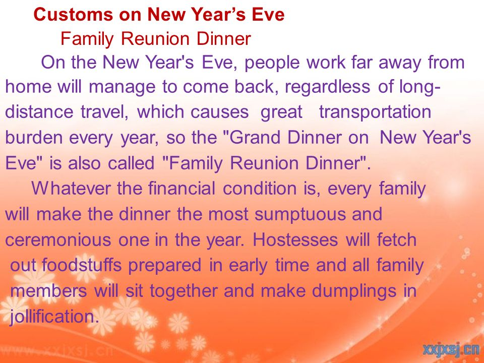 Customs on New Year's Eve