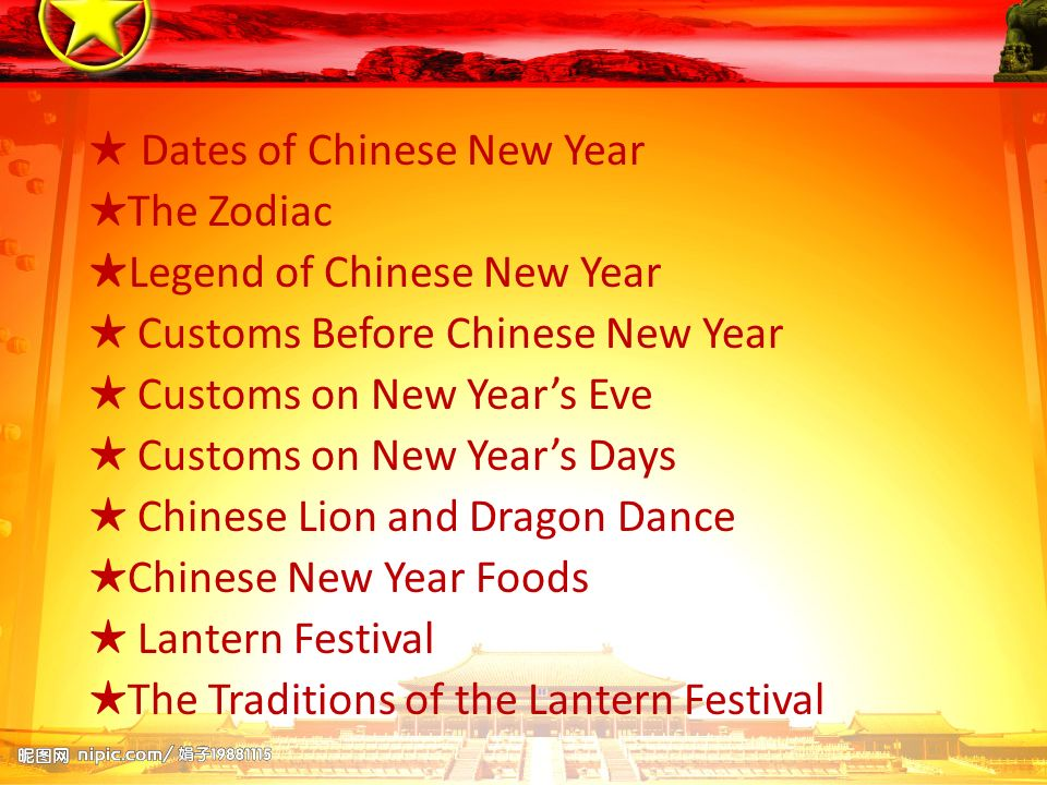 ★ Dates of Chinese New Year