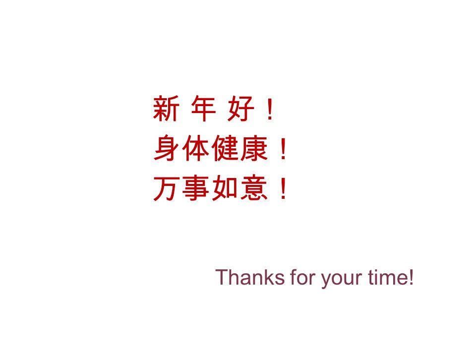 新 年 好! 身体健康! 万事如意! Thanks for your time!