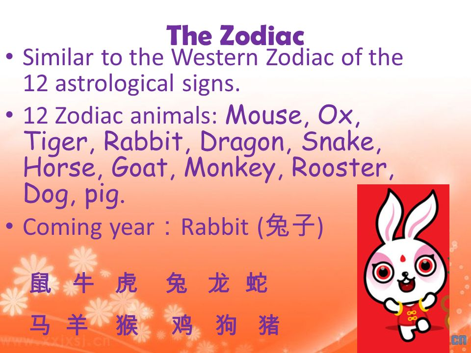 The Zodiac Similar to the Western Zodiac of the 12 astrological signs.