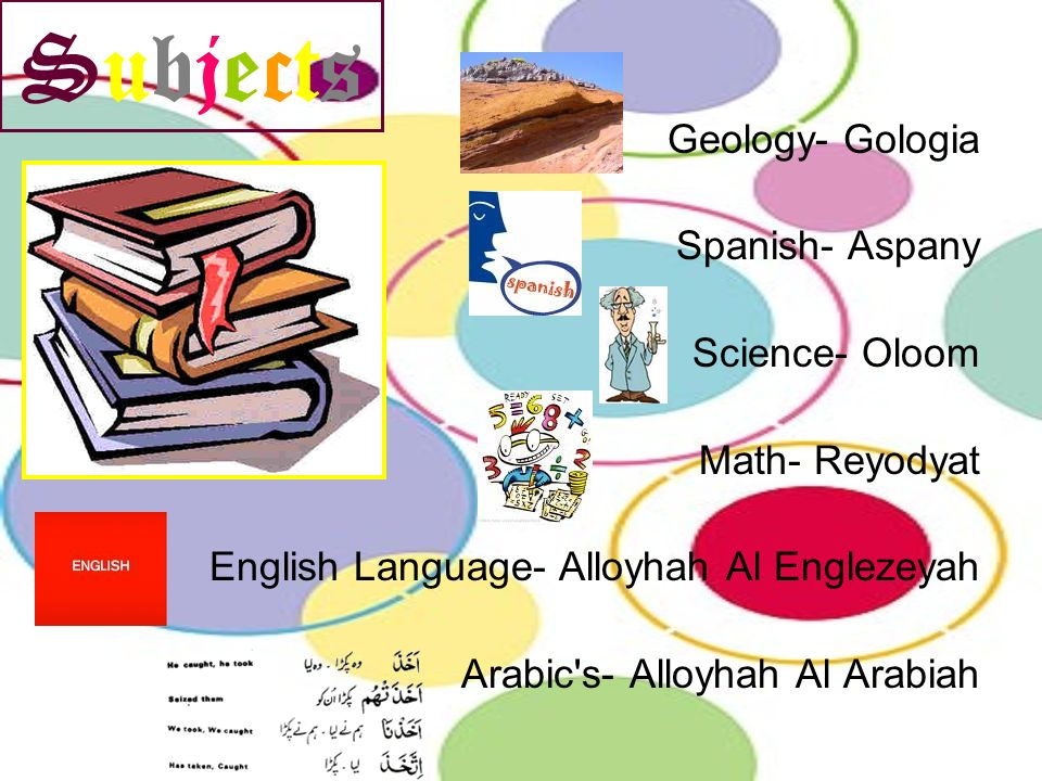 Subjects Geology- Gologia Spanish- Aspany Science- Oloom