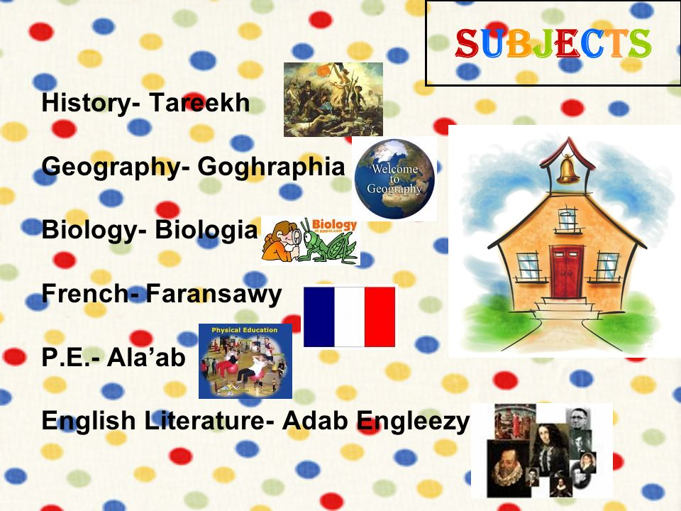 Subjects History- Tareekh Geography- Goghraphia Biology- Biologia