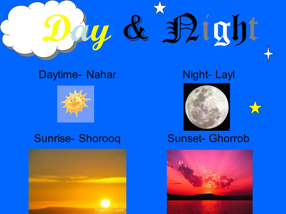 Day & Night Daytime- Nahar Sunrise- Shorooq Night- Layl