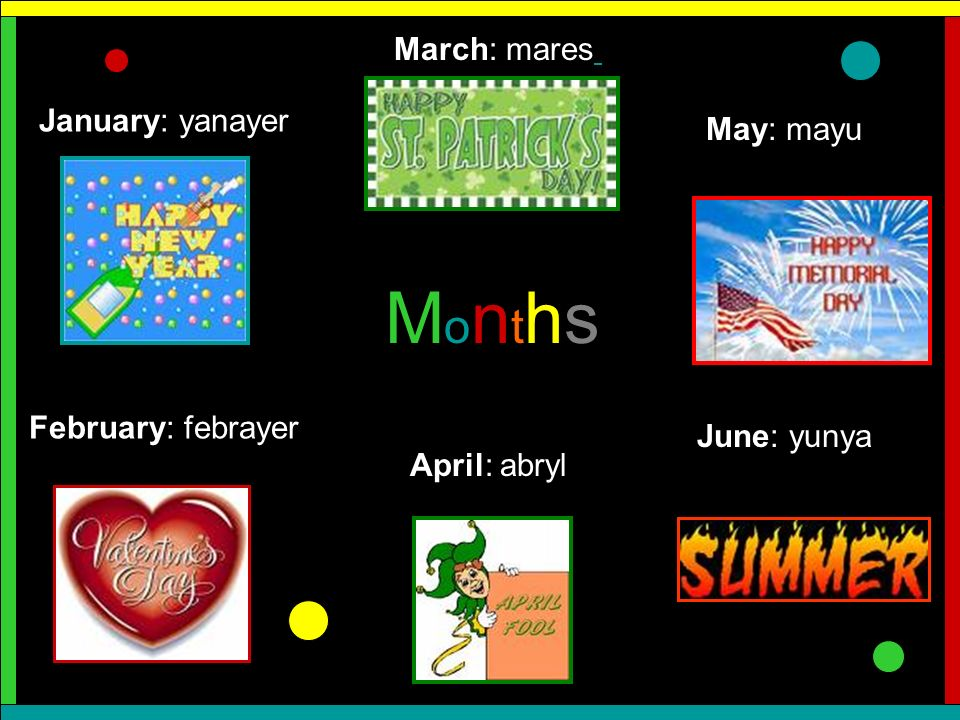 Months March: mares January: yanayer May: mayu February: febrayer