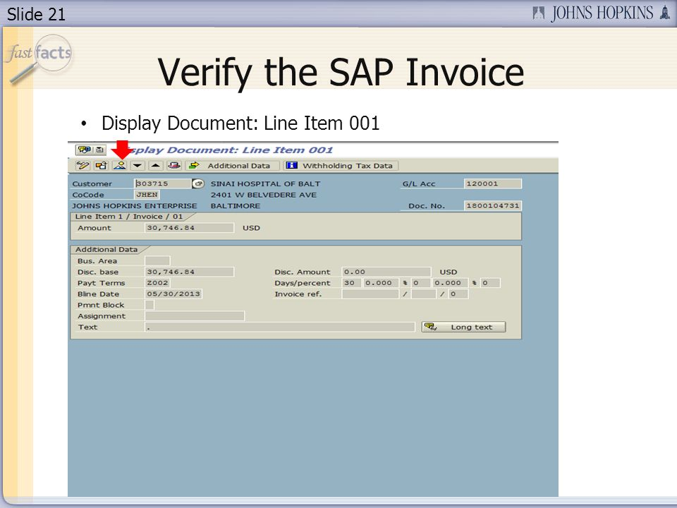 Verify the SAP Invoice Display Document: Line Item 001