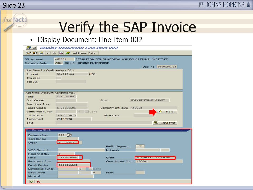 Verify the SAP Invoice Display Document: Line Item 002