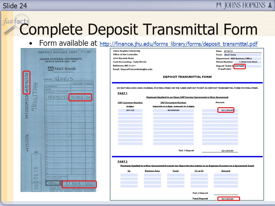 Complete Deposit Transmittal Form