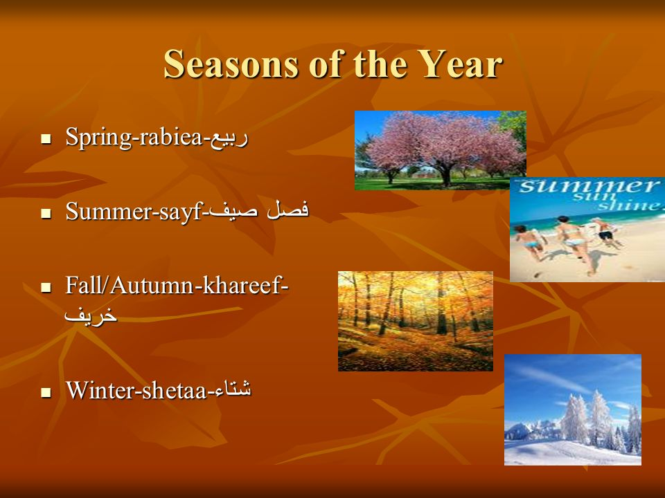 Seasons of the Year Spring-rabiea-ربيع Summer-sayf-فصل صيف