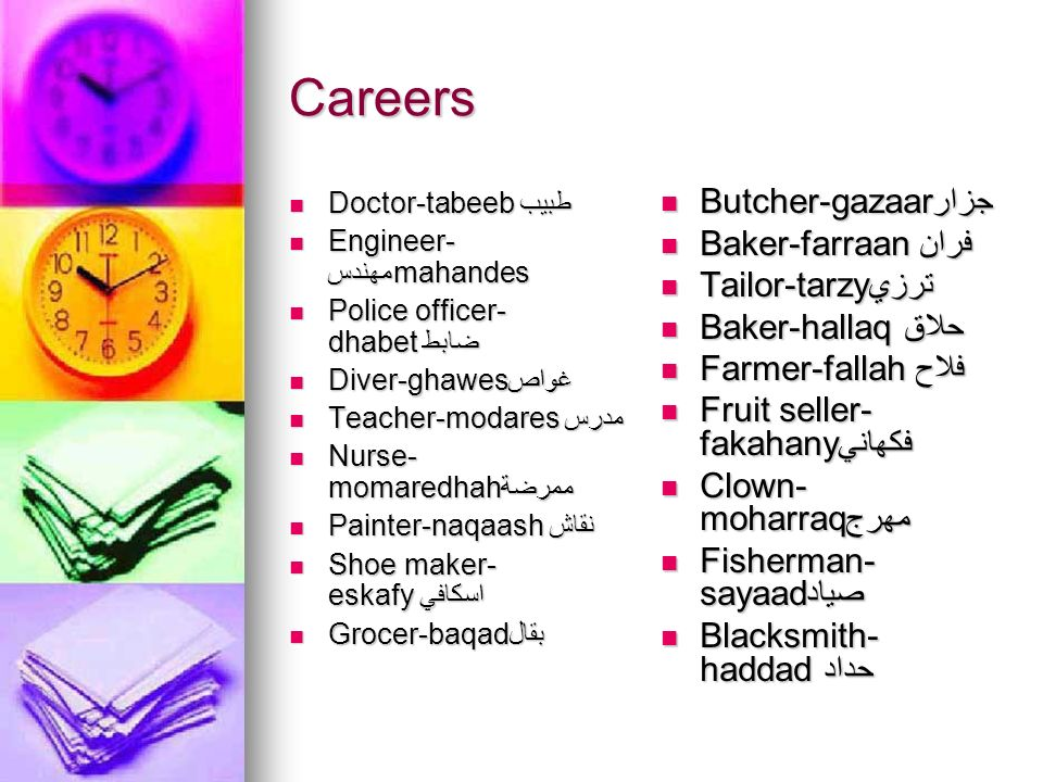 Careers Butcher-gazaarجزار Baker-farraanفران Tailor-tarzyترزي
