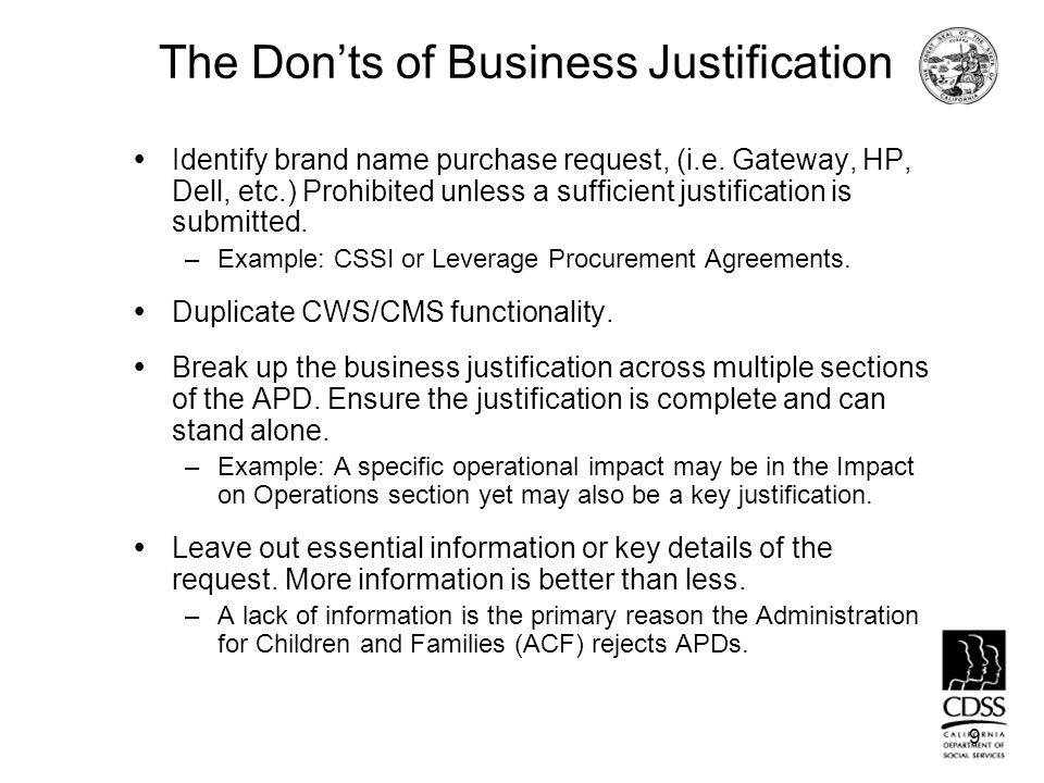 Business Justification California Departt of Social Services ...