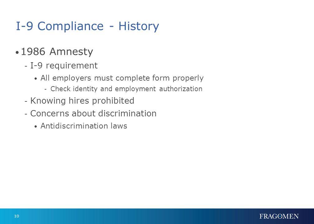 I-9 Compliance - History