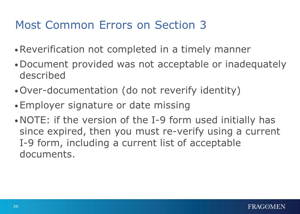 Most Common Errors on Section 3