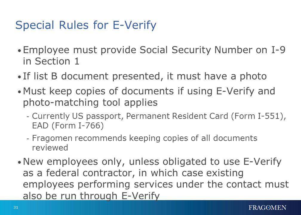 Special Rules for E-Verify