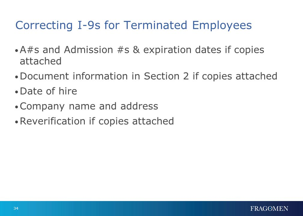 Correcting I-9s for Terminated Employees