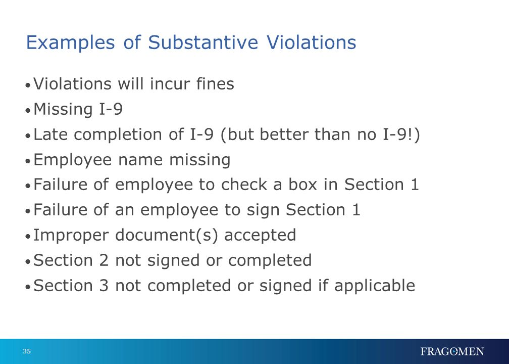 Examples of Substantive Violations