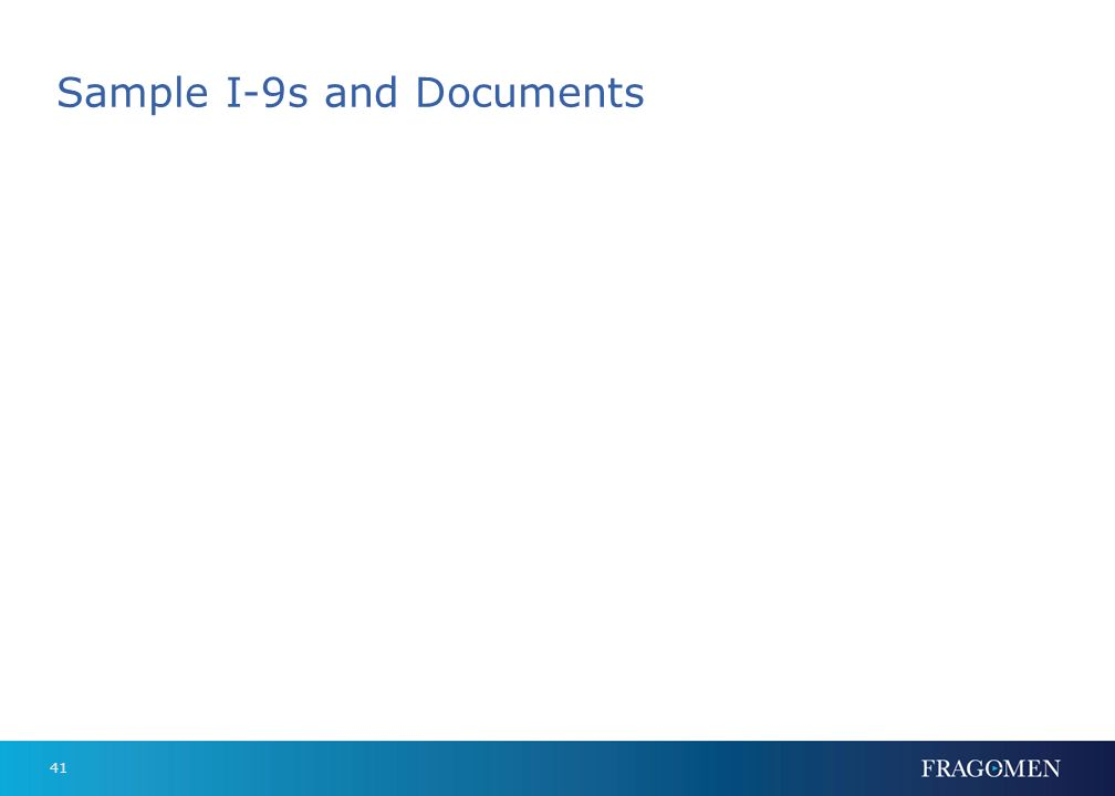 Sample I-9s and Documents