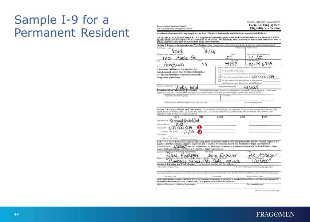 Sample I-9 for a Permanent Resident