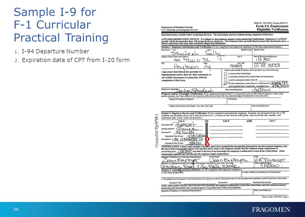 Sample I-9 for F-1 Curricular Practical Training