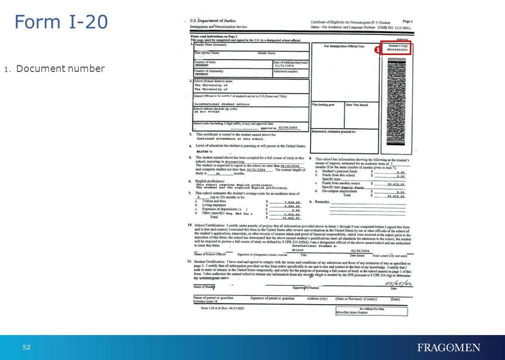 Form I-20 1 Document number