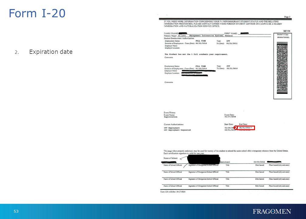 Form I-20 Expiration date 2