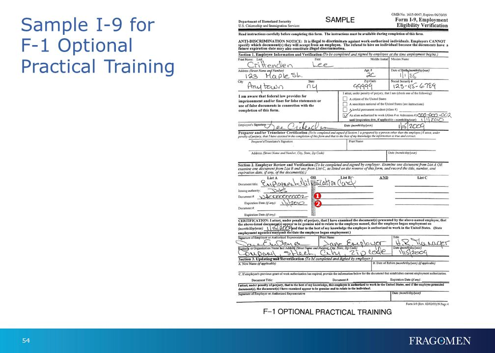 Sample I-9 for F-1 Optional Practical Training