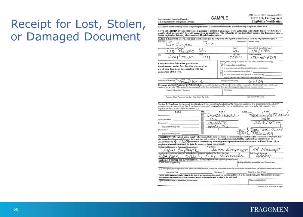 Receipt for Lost, Stolen, or Damaged Document