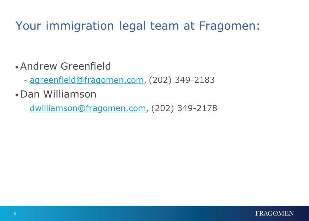 Your immigration legal team at Fragomen:
