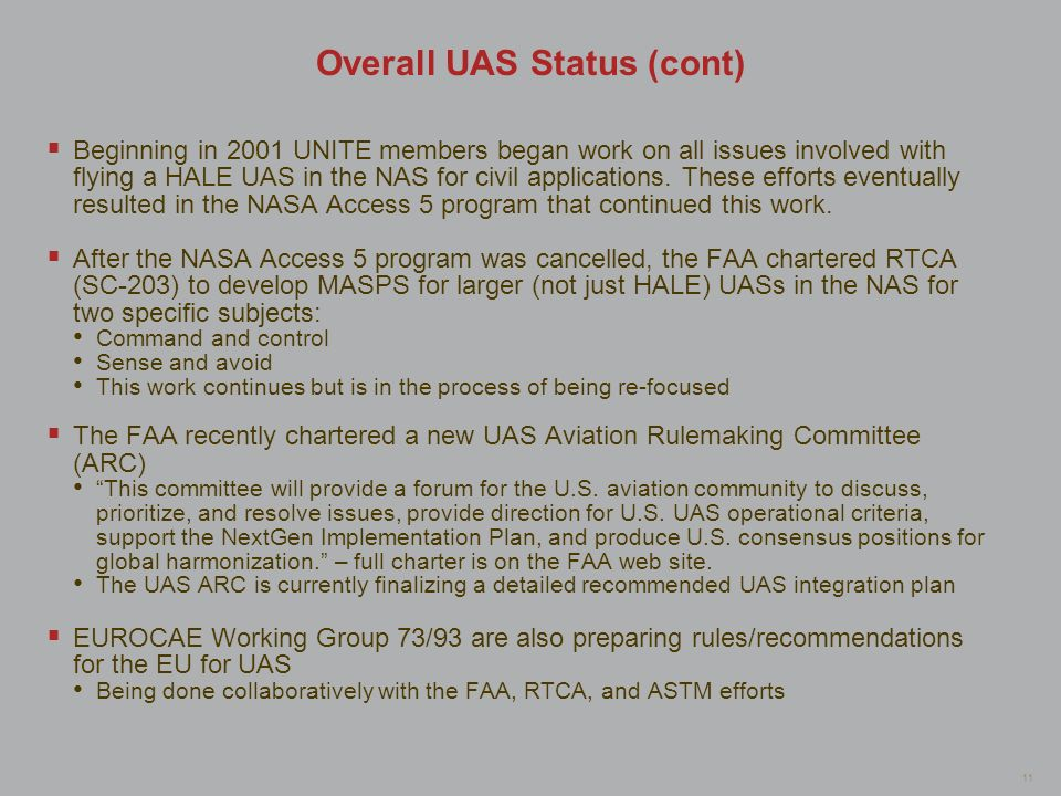 Overall UAS Status (cont)