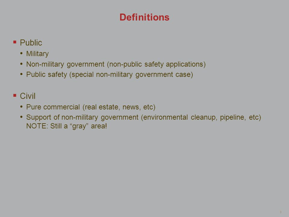 Definitions Public Civil Military
