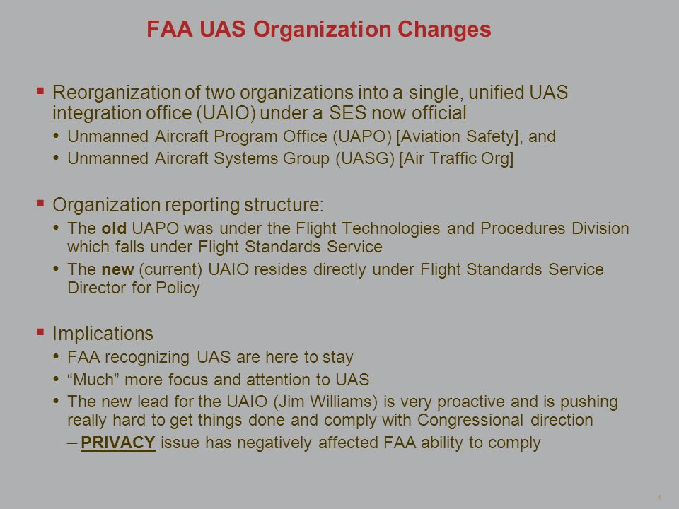 FAA UAS Organization Changes