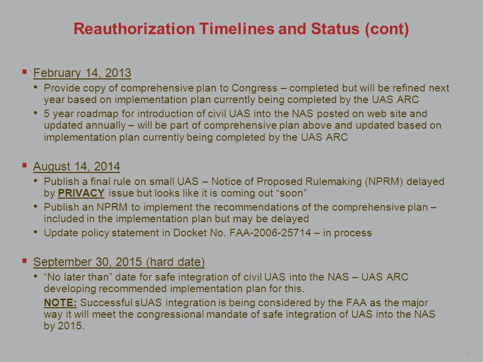 Reauthorization Timelines and Status (cont)