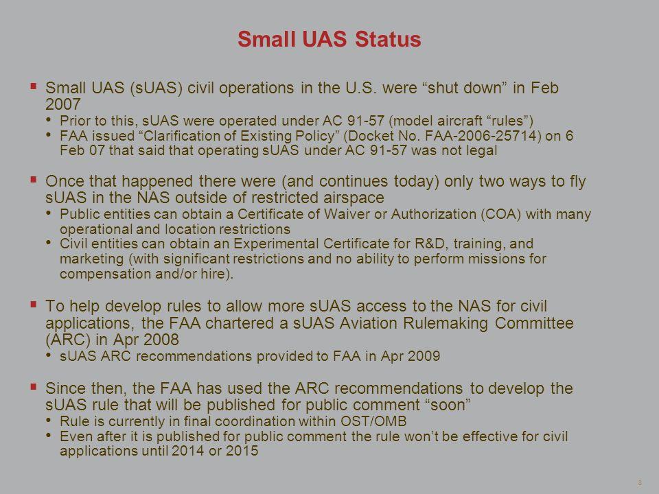 Small UAS Status Small UAS (sUAS) civil operations in the U.S. were shut down in Feb 2007.