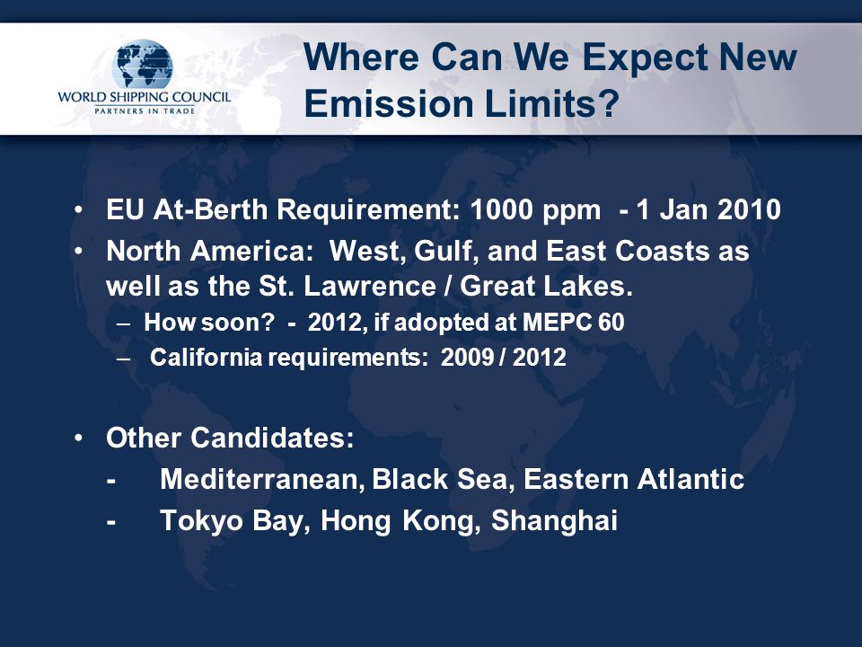 Where Can We Expect New Emission Limits