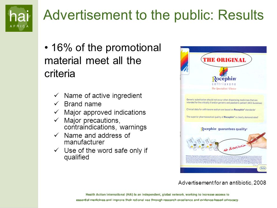Advertisement to the public: Results