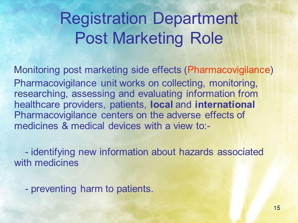 Registration Department Post Marketing Role