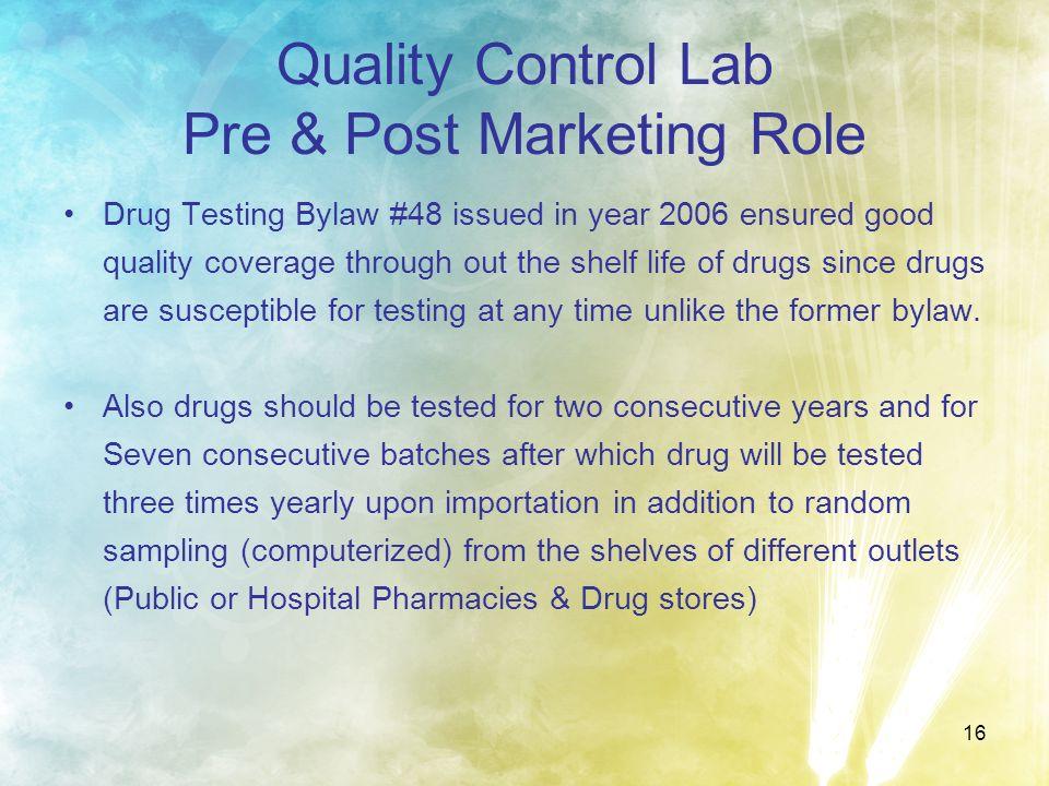 Quality Control Lab Pre & Post Marketing Role