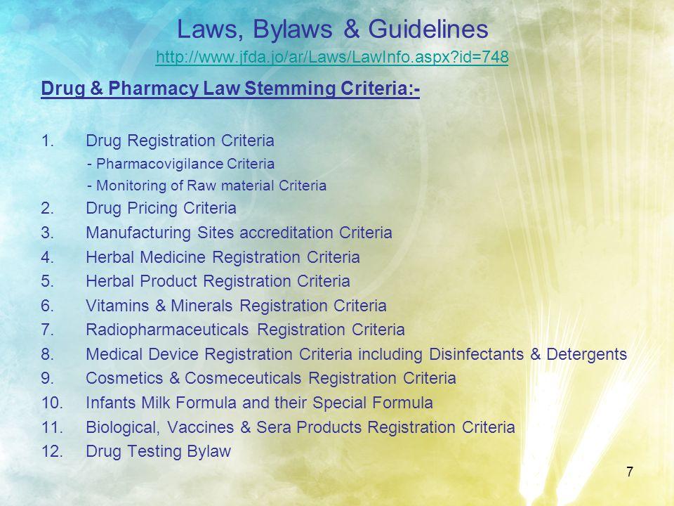 Laws, Bylaws & Guidelines http://www. jfda. jo/ar/Laws/LawInfo. aspx