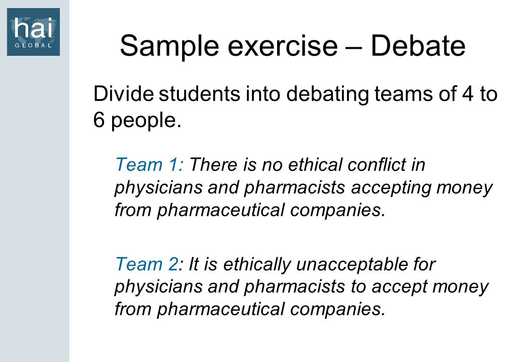 Sample exercise – Debate