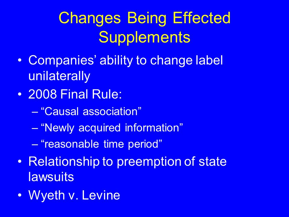 Changes Being Effected Supplements