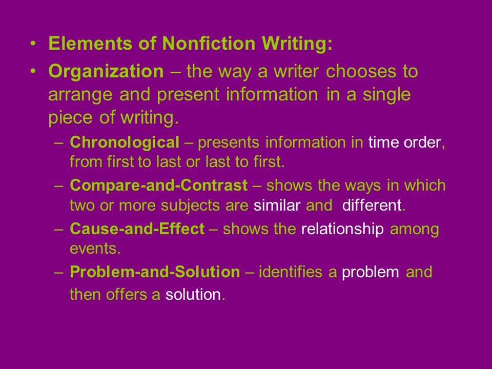 Elements of Nonfiction Writing: