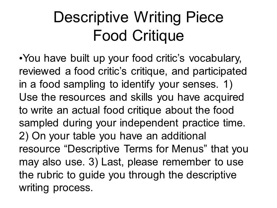 food describes me essay Transcript of five paragraph essay the five paragraph essay consists of: introduction sweet food makes me nicer sweet sugar makes me more focused on school.