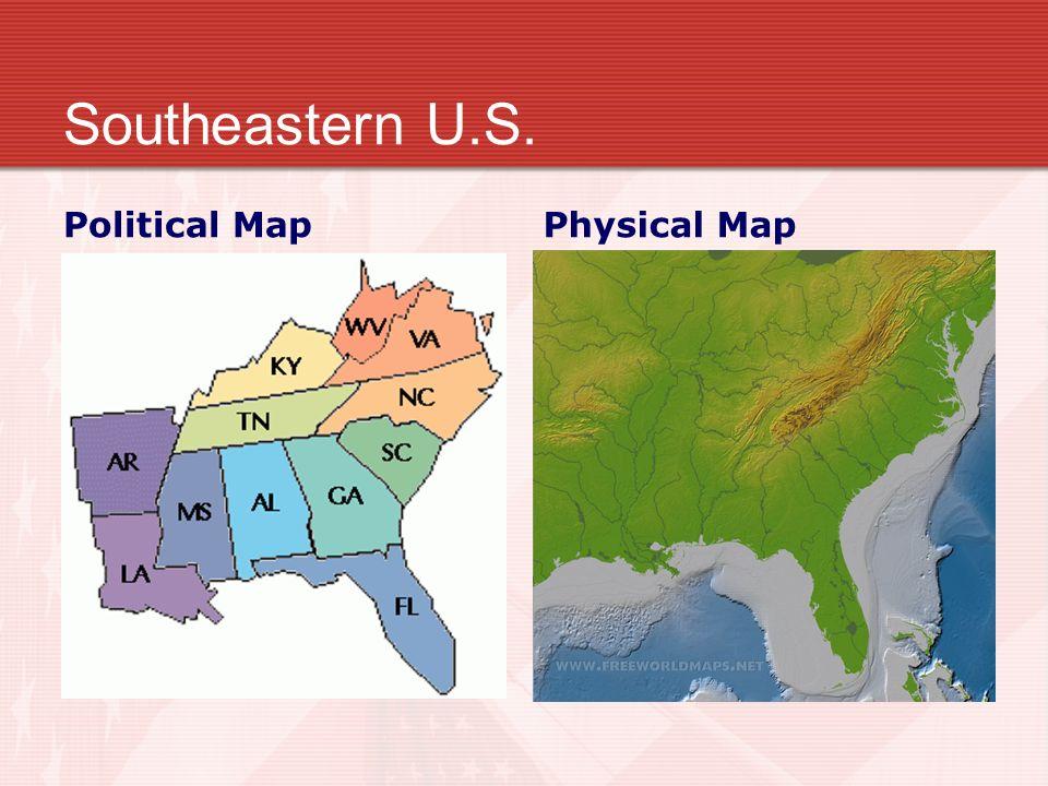 4 Southeastern U S Political Map Physical Map